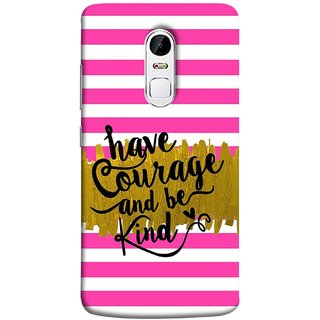 FUSON Designer Back Case Cover for Lenovo Vibe X3 (Pink And White Horizontal Strips Gold Paint Black Font)