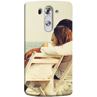 FUSON Designer Back Case Cover for LG G3 S :: LG G3 S Duos ::  LG G3 Beat Dual :: LG D722K :: LG G3 Vigor :: LG D722 D725 D728 D724 (Beautiful Husband Wife Lovers Valentines Sitting Sea Shore)