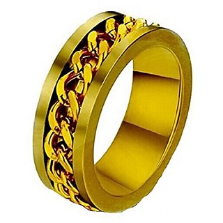 BoyZ! Golden Stainless Steel Chain Rotation Finger Ring For Men