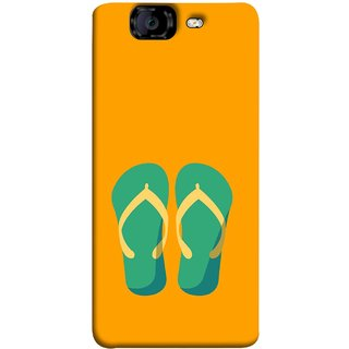FUSON Designer Back Case Cover for Micromax Canvas Knight A350 :: Micromax A350 Canvas Knight (Green Chapplas With Yellow Belts On Orange Back)