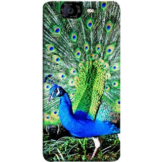 FUSON Designer Back Case Cover for Micromax Canvas Knight A350 :: Micromax A350 Canvas Knight (Nice Colourful Long Attract His Mate Peacock Feathers Beak)