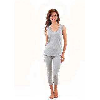 Yorker Light Grey Sleevles Thermal Top For Women