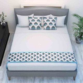 The Intellect Bazaar Chenille Printed Bed Runner With 2 Cushion Covers Blue