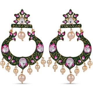 Tistabene Retails Floral Traditional Enamelled Pearl Designer Party Wear Dangler  Earring For Women and Girls (ER-3122)
