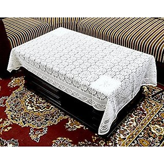 Vivek Homesaaz Designer Table Cover Net Fabric 60X40 Inches (white)