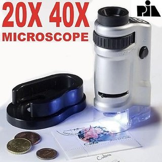 20X 40X Zoom Microscope Portable Detachable Ultralight Magnifying Glass Zoom Microscope with Two Slides -PIA INTERNATIONAL