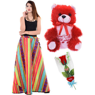 Valentine Gift Set 1 Soft Teddy, 1 Artificial Red Rose & 1 Skirt  339