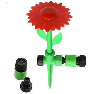 AquaHose Garden Water jet Sprinkler Sunflower Type for red 1/2 (12.5mm) Bore Size Hose with 2 Hose Connectors