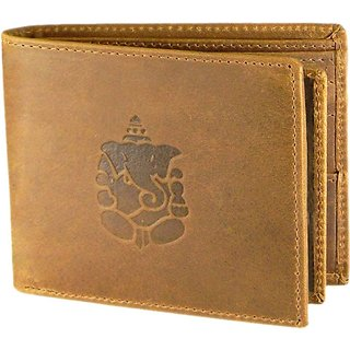 Tamanna Men Tan Genuine Hunter Leather Wallet (5 Card Slots) small coin pocket with Ganesh Sign
