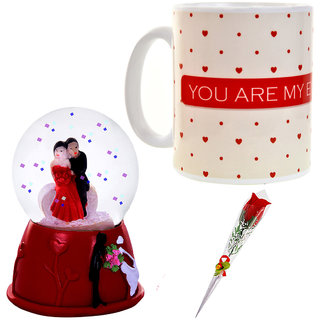 Valentine Day Gift Set 1 Artificial Red Rose, 1 Couple Dome Statue & 1 Coffee Mug 657