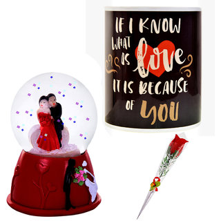 Valentine Day Gift Set 1 Artificial Red Rose, 1 Couple Dome Statue & 1 Coffee Mug 662