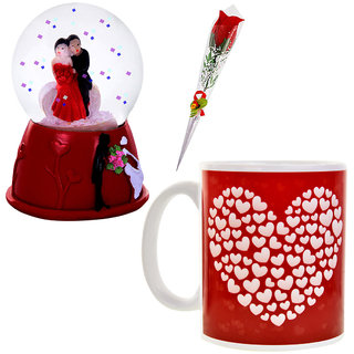 Valentine Day Gift Set 1 Artificial Red Rose, 1 Couple Dome Statue & 1 Coffee Mug 666