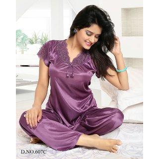 Women Sleep Set 2pc Top and Pajama Night Dress Red 607 Ash Satin Soft Bed  Lounge 20ce7d5e6