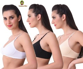 (PACK OF 3) Common MEN Daily Wear Full Coverage Bra  - MULTI-COLOR/PATTERN