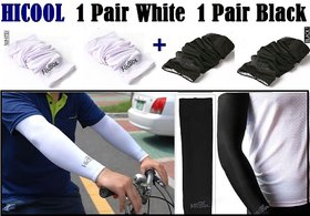 Hi Cool Arm Sleeves Sun Protection For Boys ( 2 Pairs Black/White)