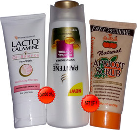 Pantene Hair Fall Conditioner (75 ml) + ADS Natural Apricot Scrub (50g)+ Lacto Face Wash (50ml) Combo Pack