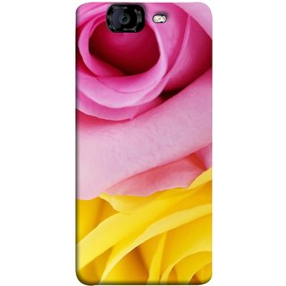 FUSON Designer Back Case Cover for Micromax Canvas Knight A350 :: Micromax A350 Canvas Knight (Pink Red Baby Yellow Shades Friendship Flowers Roses)