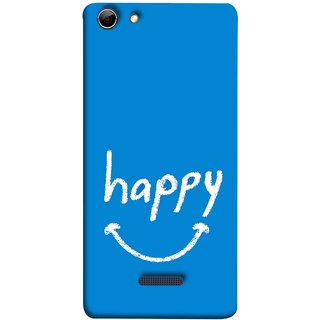 FUSON Designer Back Case Cover for Micromax Canvas Selfie 3 Q348 (Blue Background Themes Stay Happy White Font)