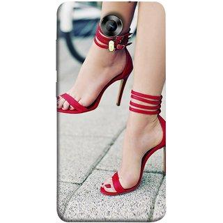 FUSON Designer Back Case Cover for Micromax CanvasNitro4G E371 (Sitting Wheels Design Red Nailpolish Womens Girls Females )