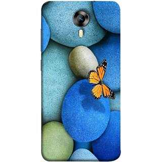 FUSON Designer Back Case Cover for Micromax CanvasNitro4G E371 (Butterfly Rocks Beautiful Colorful Blue Splendo Butterfly)