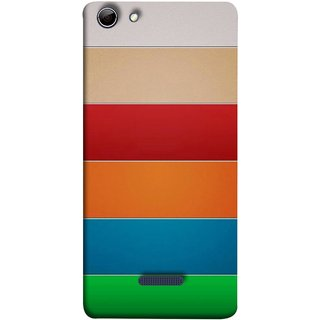 FUSON Designer Back Case Cover for Micromax Canvas Selfie 3 Q348 (Rainbow Colours Bright Bands Red Orange Blue)