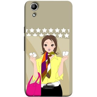 FUSON Designer Back Case Cover for Micromax Canvas Selfie 2 Q340 (Animated 3D Starts Pink Bag Jeans Pant Yellow Shirt )