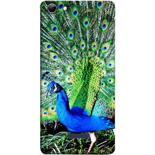 FUSON Designer Back Case Cover for Micromax Canvas Selfie 3 Q348 (Nice Colourful Long Attract His Mate Peacock Feathers Beak)