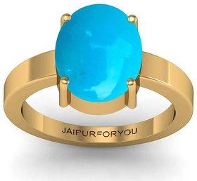 Jaipurforyou Certified Turquoise (Firoza)  7.40 cts or 8.25 ratti Panchdhatu ring