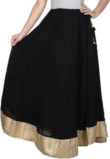 Klick2Style Women's Georgette Black Skirt