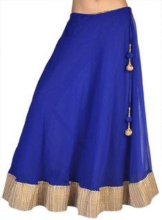 Klick2Style Women's Georgette Blue Skirt