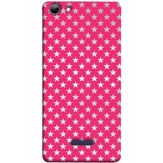 FUSON Designer Back Case Cover for Micromax Canvas Selfie 3 Q348 (Small Lot Of Stars Red Back Shining Glossy Baby)