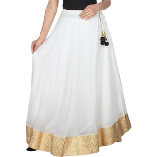 Klick2Style Women's Georgette White and Golden Skirt