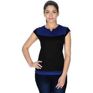 Klick2Style Women's Lycra Viscose Blue and Black Top