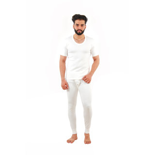 Yorker Off White Half Sleeves Thermal Top For Men
