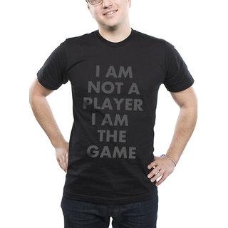 I AM THE GAME Men's Black Cotton Slogan Round Neck Half Sleeve T-shirt - Hemant Sahi Designs