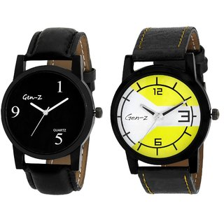 Gen-Z combo of 2 black and yellow watches