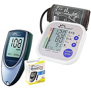 Dr. Morepen Blood Pressure Monitor BP02 + BG-03 Gluco One Glucometer( 25 Strips Free ) Health Care Appliance Combo