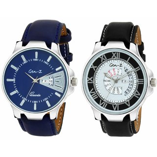 Gen-Z combo of 2 Brown Black and Blue Day and Date watches