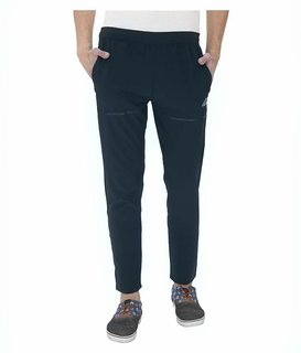 Adidas Navy Polyester Lycra Trackpants for Men