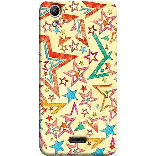 FUSON Designer Back Case Cover for Micromax Canvas Selfie 2 Q340 (Vector Abstract Background Of Colorful 3D Stars)