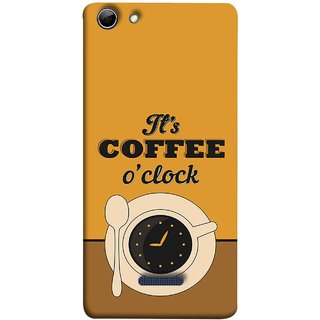 FUSON Designer Back Case Cover for Micromax Canvas Selfie 3 Q348 (Yellow Good Morning Tea Coffee Full Cup Black)