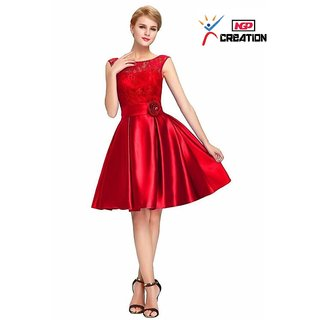 353314a885ac NGP Creation Womens Western Crepe Chiffon Barbie Red Baby Doll One Piece  Mid Knee Length Dress