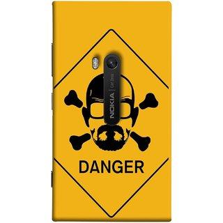 FUSON Designer Back Case Cover for Nokia Lumia 920 :: Micosoft Lumia 920 (Yellow Background  Bones Danger Triangular Sign )