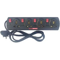 HITLER GERMANY Branded 6Amp 4-Way With 4 Individual Switch Extension Board LED Indicator, International Sockets