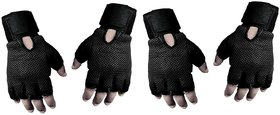(Pack of 2 Set) Genuine Leather Netted Gym  Fitness Gloves with Wrist Support Black
