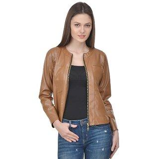 Raabta Fashion Beige Full Faux Leather Jacket