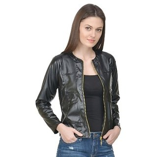 Raabta Fashion Black Full Faux Leather Jacket