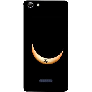 FUSON Designer Back Case Cover for Micromax Canvas Selfie 3 Q348 (Black Background Yellow Moon Beam Lovely Picture)