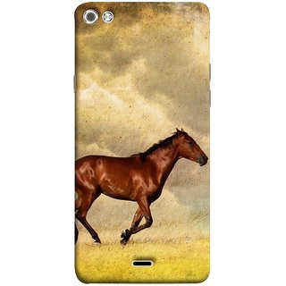FUSON Designer Back Case Cover for Micromax Canvas Sliver 5 Q450 :: Silver Q450 (Black Horse Animal Green Grass Blue Sky Clouds Look)