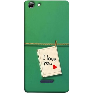 FUSON Designer Back Case Cover for Micromax Canvas Selfie 3 Q348 (You Message Card Over Red Wooden Board Stock Photos)